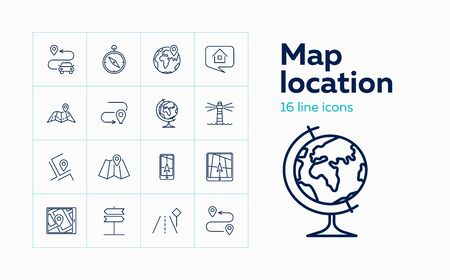 Map location line icon set. Compass, direction sign, globe. Navigation concept. Can be used for topics like route, itinerary, gps