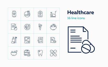 Healthcare icons. Set of line icons on white background. Medicine, tooth, food, carrot, bicycle. Vector illustration can be used for topics like diet, sport, fitness, healthy lifestyle