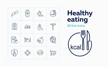 Healthy eating icon set. Set of line icons on white background. Apple, protection, diet, plate. Diet concept. Vector illustration can be used for topics like diet, fitness, healthy lifestyle Stock Illustratie