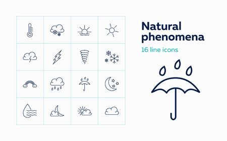 Natural phenomena icons. Set of line icons on white background. Rainfall, cloudscape, thunderbolt. Weather concept. Vector can be used for topics like climate, meteorology, forecast Stock Illustratie
