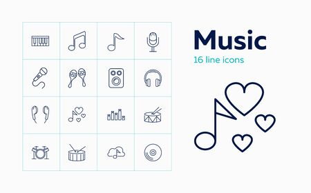 Music line icon set. Note, headphone, drum. Audio concept. Can be used for topics like musical instrument, sound hardware, concert