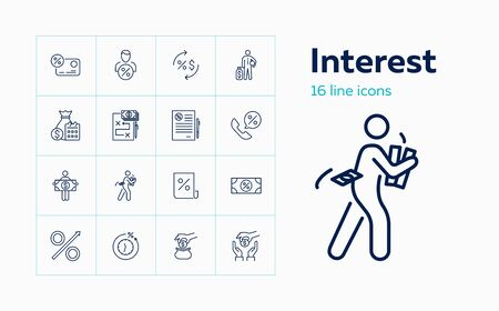 Interest line icon set. Credit card, loan agreement, banker. Finance concept. Can be used for topics like banking, saving, investment, income