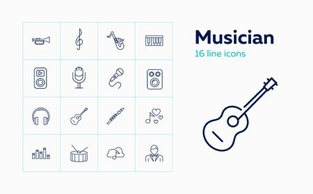 Musician icons. Set of line icons. Microphone, loudspeaker, flute, headphones. Concert concept. Vector illustration can be used for topics like music, art, sound