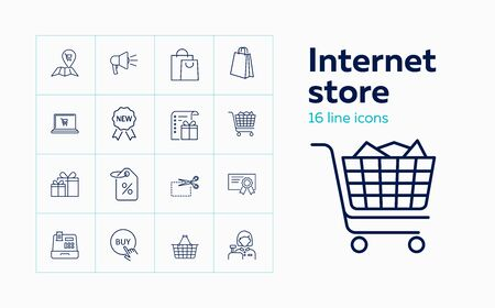 Internet store line icon set. Paper bag, discount, cart. Retail concept. Can be used for topics like shopping online, Christmas sale, discount