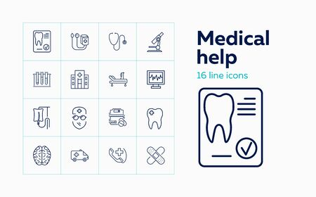 Medical help line icon set. Ambulance, dentist, brain. Medicine concept. Can be used for topics like lab test, emergency, diagnosis Illustration