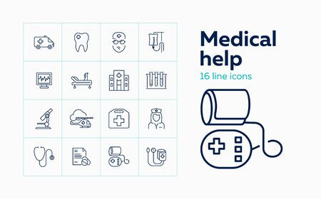 Medical help line icon set. Doctor, hospital, stethoscope. Medicine concept. Can be used for topics like ambulance, emergency, health care