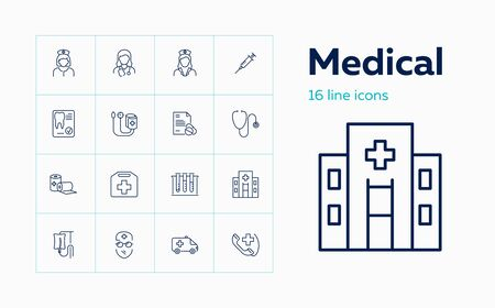 Medical icons. Set of line icons on white background. Doctor, drip feed, ambulance car. Vector illustration can be used for topics like medicine, healthcare