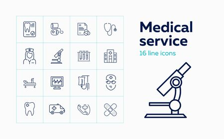 Medical service line icon set. Hospital, microscope, doctor, cardiogram. Medicine concept. Can be used for topics like healthcare, insurance, teeth care