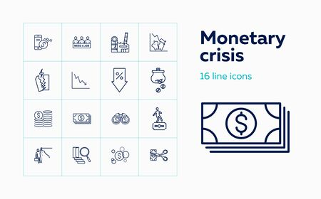 Monetary crisis icons. Set of line icons. Unemployment, bankruptcy, decline. Financial problems concept. Vector illustration can be used for topics like business, finance, banking  イラスト・ベクター素材