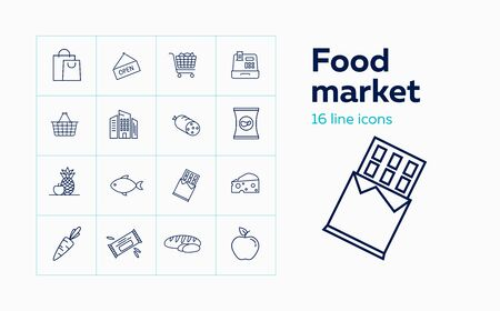 Food market line icon set. Set of line icons on white background. Product store concept. Fish, bread, shopping cart. Vector illustration can be used for topics like shopping, grocery, supermarket Stock Illustratie