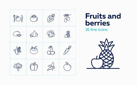 Fruits and berries line icon set. Cherry, banana, apple, lemon. Grocery concept. Vector illustration can be used for topics like grocery, green market, healthy eating