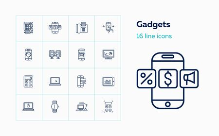Gadgets line icon set. Laptop, calculator, workplace. Electronics concept. Can be used for topics like information technology, analysis, communication