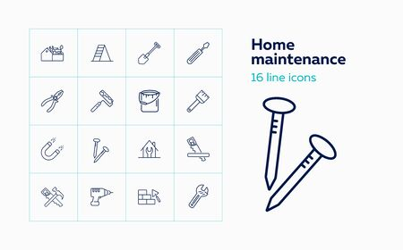 Home maintenance line icon set. Tool box, painting brush, wrench. Construction concept. Can be used for topics like housing housekeeping, renovation, repair Stock Illustratie