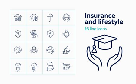 Insurance and lifestyle icon set. Set of line icons on white background. House, protection. Safety and insurance concept. Vector illustration can be used for topics like insurance, economy Ilustrace