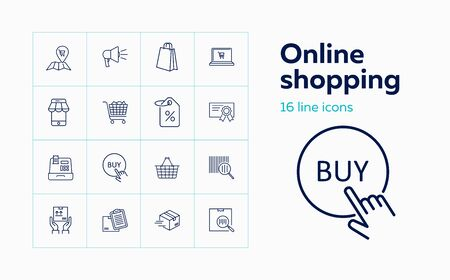 Online shopping line icon set. Paper bag, discount, cart. Retail concept. Can be used for topics like internet store, special offer, delivery