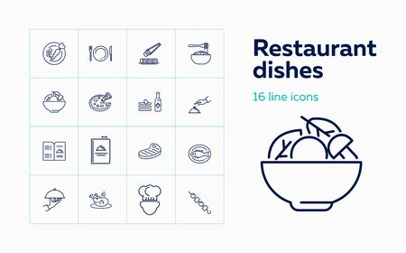Restaurant dishes icons. Set of line icons. Yummy, cuisine, menu. Food service concept. Vector illustration can be used for topics like cooking, food, restaurant 일러스트