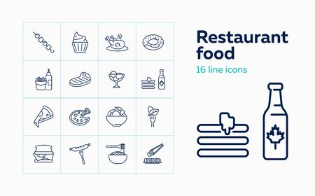 Restaurant food line icon set. Chicken, doughnut, sandwich. Eating concept. Can be used for topics like menu, cafe, cooking Illustration