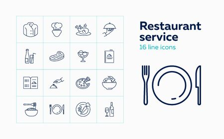 Restaurant service line icon set. Chef, meal, menu. Catering concept. Can be used for topics like cafe, cooking, occupation