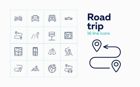 Road trip line icon set. Vehicle, route, itinerary. Navigation concept. Can be used for topics like map location, travel, address