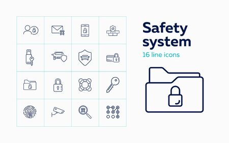 Safety system line icon set. Car, shield, lock, key, spider. Protection concept. Can be used for topics like antivirus, car alarm system, credit card security