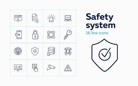 Safety system line icon set. Computer, data storage, alarm signal. Protection concept. Can be used for topics like antivirus, information technology, software