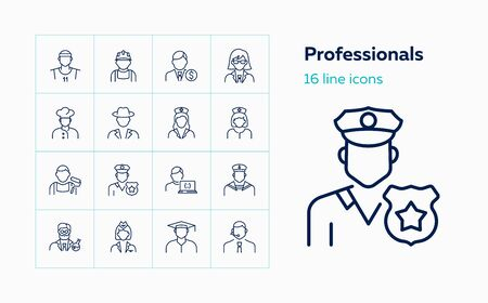 Professionals line icon set. Doctor, sportsman, policeman. Occupation concept. Can be used for topics like work, vocation, expertise Ilustração