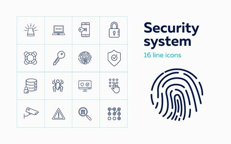 Security system line icon set. Key, locked data storage, antivirus. Protection concept. Can be used for topics like data safety, software, information technology Ilustração