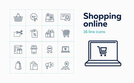 Shopping online line icon set. Smartphone, laptop, payment. Purchasing concept. Can be used for topics like buying, consumerism, internet stores