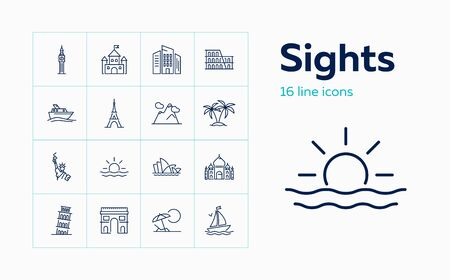 Sights line icon set. Paris, London, New York. Tourism concept. Can be used for topics like vacation, travel, sightseeing Banco de Imagens - 129078006
