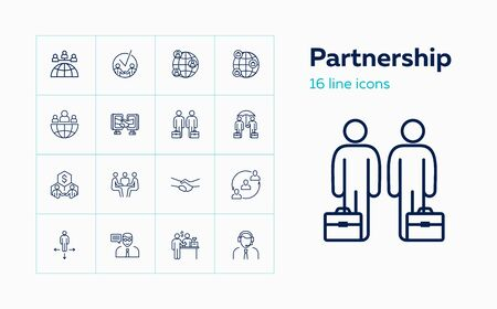 Partnership line icon set. Meeting, agreement, buying. Business concept. Can be used for topics like negotiations, networking, deal