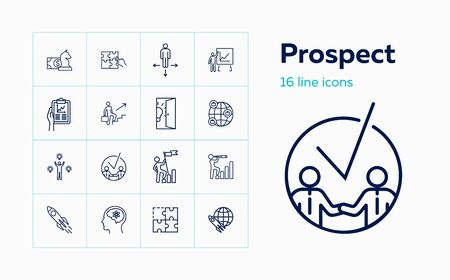 Prospect icons. Set of line icons. Partnership, success, solution. Progress concept. Vector illustration can be used for topics like business, career, startup