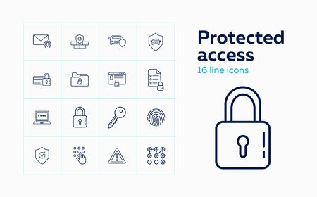 Protected access line icon set. Fingerprint, credit card, computer, lock. Secure concept. Can be used for topics like identification, safety, insurance Ilustração