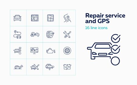 Repair service and GPS line icon set. Set of line icons on white background.Auto concept.Program, itinerary, car repair. Vector illustration can be used for topics like car, repair service, navigation Foto de archivo - 129078080