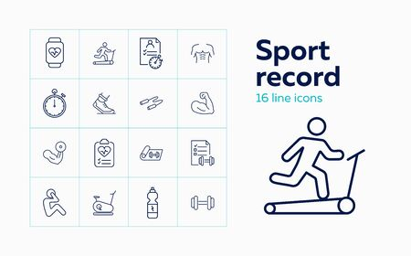 Sport record icons. Set of line icons. Jogging, muscle, pulse trace. Fitness concept. Vector illustration can be used for topics like sport, healthy lifestyle, training