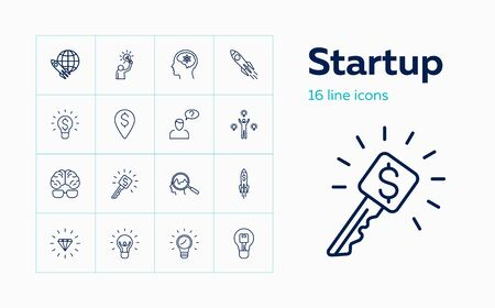 Startup line icon set. New idea, brain, problem solving. Business concept. Can be used for topics like management, key solution, money making Illustration