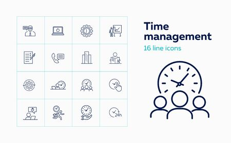 Time management line icon set. Clock, watch, gear, office worker. Business concept. Can be used for topics like schedule, daily routine, deadline