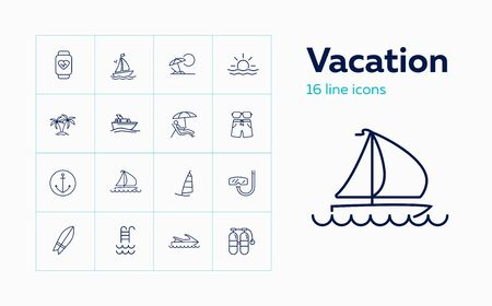 Vacation icon set. Set of line icons on white background. Travel concept. Yacht, ship, diving, palm. Travel concept. Vector illustration can be used for topics like vacation, holiday, travelling Ilustração