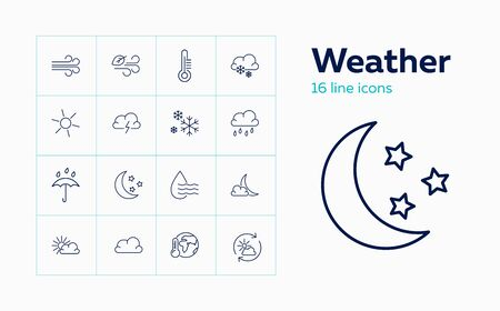 Weather line icon set. Sun, wind, rain. Climate concept. Can be used for topics like nature, global warming, weather forecast