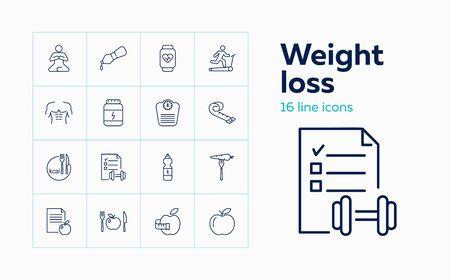 Concept de perte de poids. Ensemble d'icônes de ligne sur fond blanc. Régime, remise en forme, entraînement. Concept de mode de vie sain. Le vecteur peut être utilisé pour des sujets tels que le bien-être, les soins du corps, le sport Vecteurs