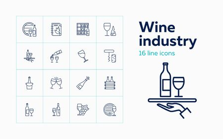 Wine industry icons. Set of line icons on white background. Wine storage, champagne, corkscrew. Alcoholic drinks concept. Vector can be used for topics like winery, restaurant, beverage