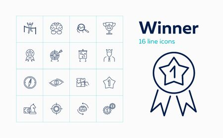 Winner line icon set. Leader, king, compass. Business concept. Can be used for topics like problem solving, goal achieving, award
