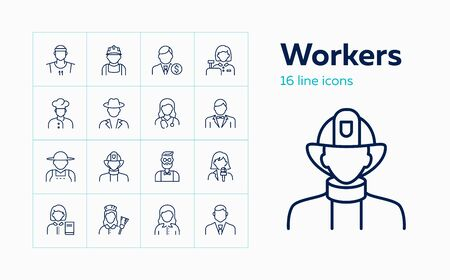 Workers line icon set. Maid, librarian, practitioner, banker, chef. Occupation concept. Can be used for topics like work, vocation, employees