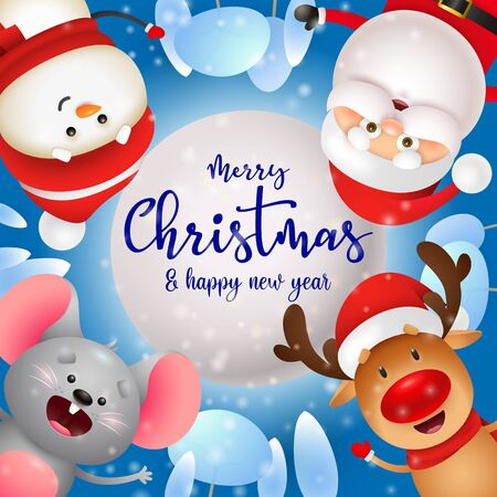 Merry Christmas lettering, snowman, mouse, Santa Claus, reindeer. Christmas greeting card. Handwritten text, calligraphy. For leaflets, brochures, invitations, posters or banners.