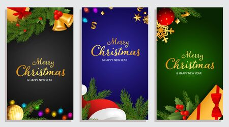 Set of Merry Christmas and Happy New Year design with fir branches, holly berries and bulb lights on background of different colors. Letterings can be used for posters, leaflets, announcements