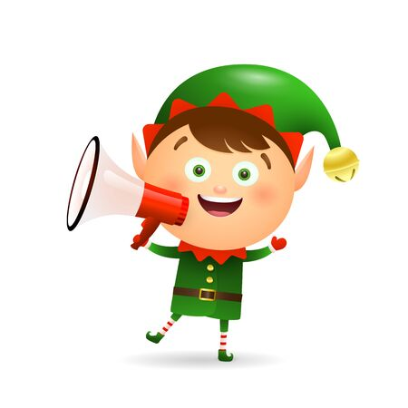 Happy Xmas elf announcing news. Holding speaker, megaphone, shouting. Christmas concept. Realistic vector illustration can be used for topics like New Year sale, advertising, special offer Foto de archivo - 129078620