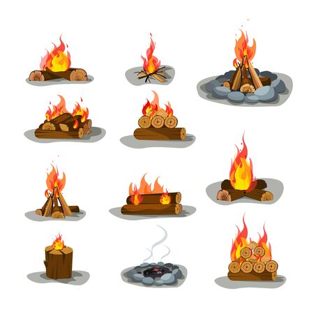 Bonfire vector illustrations set. Burning campfire firewood design elements collection. Isolated flat vector illustration on white background.