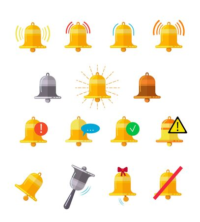 Message bells vector illustrations set. Reminder signal indicator design elements collection. Isolated flat vector illustration on white background.