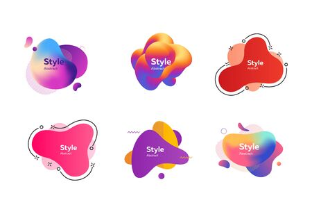 Set of beautiful multi-colored abstract dynamical shapes. Vector illustration. Can be used for advertising, marketing, presentation