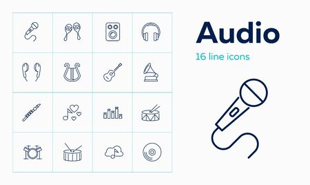 Audio icons. Set of line icons on white background. Record, music speaker, musical instruments. Music concept. Vector can be used for topics like leisure, hobby, audio technology Stock Illustratie