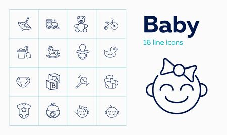 Baby line icon set. Diaper, teddy bear, crib. Child care concept. Can be used for topics like toys, nursery, children room 일러스트